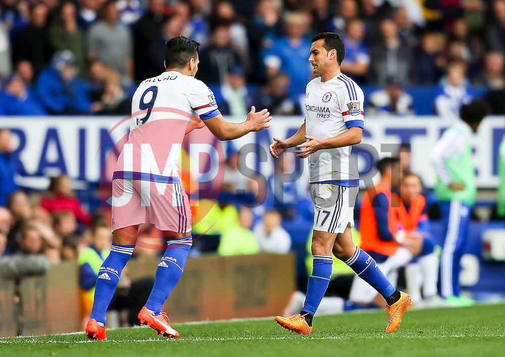 Pedro Rodriguez of Chelsea is replaced by Radamel Falcao - Mandatory byline: Matt McNulty/JMP - 07966386802 - 12/09/2015 - FOOTBALL - Goodison Park -Everton,England - Everton v Chelsea - Barclays Premier League