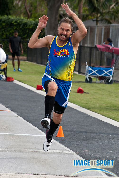 Richard Censullo, age 66, jumps a wind-aided 25-4 (7.72m)  in the triple jump during the Jim Bush Southern California USATF Championships, Saturday, June 29, 2019, in Long Beach,  Calif.  (Ken McLin/Image of Sport)