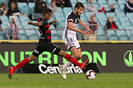 SYDNEY, AUSTRALIA - APRIL 27: Melbourne Victory midfielder Terry Antonis (8) passes the ball under pressure from Western Sydney Wanderers midfielder Keanu Baccus (17) at round 27 of the Hyundai A-League Soccer between Western Sydney Wanderers FC and Melbourne Victory on April 27, 2019 at ANZ Stadium in Sydney, Australia. (Photo by Speed Media/Icon Sportswire)