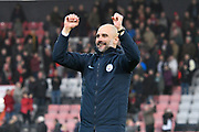 Manchester City manager Pep Guardiola celebrates the 1-0 win over Bournemouth at full time during the Premier League match between Bournemouth and Manchester City at the Vitality Stadium, Bournemouth, England on 2 March 2019.