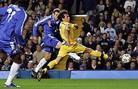 Photo: Paul Thomas.<br /> Chelsea v Levski Sofia. UEFA Champions League, Group A. 05/12/2006. <br /> <br /> Andriy Shevchenko scores for Chelsea.