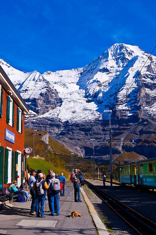 Jungfrau Railway train station at Wengernalp, Swiss Alps, Canton Bern, Switzerland
