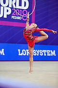 Telegina Yuliana during the qualification at the hoop of the World Cup group of Pesaro 2018. Yuliana is an Israeli gymnast born in 2002.