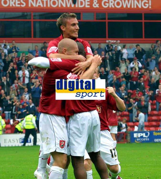 Photo: Dave Linney.<br />Walsall v Macclesfield Town. Coca Cola League 2. 16/09/2006.Walsall's Hector Sam celdbrates after ptting the Saddlers 1-0 up.