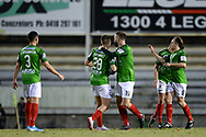SYDNEY, AUSTRALIA - AUGUST 21: Marconi celebrate a goal during the FFA Cup round of 16 soccer match between Marconi Stallions FC and Melbourne City FC on August 21, 2019 at Marconi Stadium in Sydney, Australia. (Photo by Speed Media/Icon Sportswire)