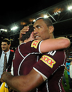 July 6th 2011: Petero Civoniceva and Cooper Cronk of the Maroons celebrate winning game 3 of the 2011 State of Origin series at Suncorp Stadium in Brisbane, QLD, Australia on July 6, 2011. Photo by Matt Roberts / mattrimages.com.au / QRL
