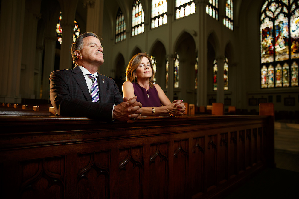 John and Mari Ann Martin pose for a portrait at the Cathedral Basilica of the Immaculate Conception in Denver, Wednesday, Oct. 5, 2016. Photo by Justin Edmonds