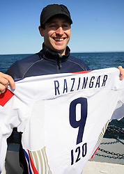 Tomaz Razingar at whale watching boat when Poloncic (18), Golicic (17), Rebolj (27) and Razingar (9) were celebrating an anniversary of playing for Slovenian National Team for 100 (120) times, during IIHF WC 2008 in Halifax,  on May 07, 2008, sea at Halifax, Nova Scotia,Canada.(Photo by Vid Ponikvar / Sportal Images)