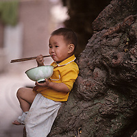 China, Young boy eats rice while leaning against tree in small farming village along Yangtze River