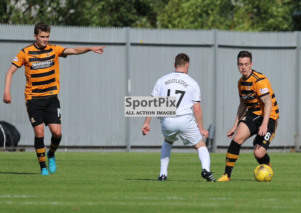 Jason Marr breaks out of defence  during the Dumbarton FC v Alloa FC Scottish Championship 5th September 2015 <br /> <br /> (c) Andy Scott | SportPix.org.uk
