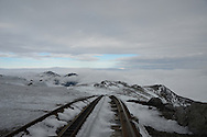 Looking down the cog rail tracks at the summit of Mount Washington.