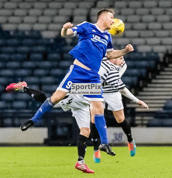Peterhead's Rory McAllister wins the high ball during the Queen's Park FC V Peterhead FC Petrofac Training Cup semi-final played at Hampden Park, Glasgow on 14th November 2015; (c) BERNIE CLARK | SportPix.org.uk