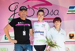 Gorazd Penko and Pauline Ferrand Prevot (FRA) of Rabobank-Liv team  during jersey ceremony after Stage 1 (102,5 km) from Kamnik to Ljubljana at 26th Giro Rosa 2015 Women cycling race, on July 4, 2015 in BTC City, Ljubljana,  Slovenia. Photo by Vid Ponikvar / Sportida