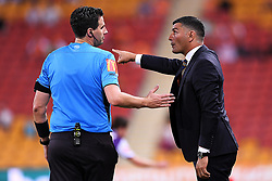 January 18, 2018 - Brisbane, QUEENSLAND, AUSTRALIA - Brisbane Roar head coach John Aloisi (right) argues with match referee Kris Griffith-Jones during the round seventeen Hyundai A-League match between the Brisbane Roar and the Perth Glory at Suncorp Stadium on January 18, 2018 in Brisbane, Australia. (Credit Image: © Albert Perez via ZUMA Wire)