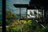 Kandy, Sri Lanka -- February 4, 2018: A room with a view at the Santani Resort, overlooking the Knuckles Mountain Range.