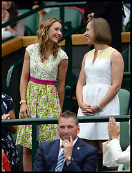 Image ©Licensed to i-Images Picture Agency. 28/06/2014, Wimbledon, London, United Kingdom. Amy Williams and Elizabeth Yarnold  in the Royal box on Day 6 of the Wimbledon Tennis Championship. Picture by Andrew Parsons / i-Images
