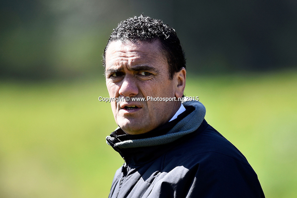 Head coach of the Orcas Darryl Marino watches his team warm up during the NRL National Premiership rugby league match between Wellington Orcas v Wai-Coa-Bay Stallions at Porirua Park in Wellington on Saturday the 12th September 2015. Copyright photo by Marty Melville / www.photosport.nz