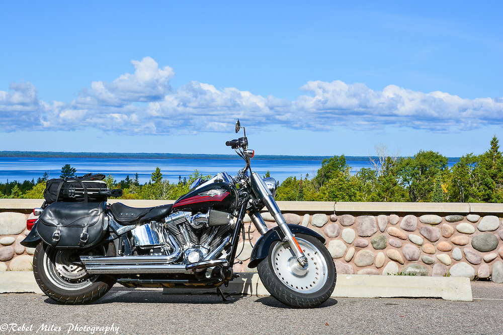 Harley Davidson Fat Boy Overlooking Lake Superior