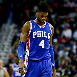 Feb 19, 2016; New Orleans, LA, USA; Philadelphia 76ers forward Nerlens Noel (4) reacts against the New Orleans Pelicans during the second half of a game at the Smoothie King Center. The Pelicans defeated the 76ers 121-114. Mandatory Credit: Derick E. Hingle-USA TODAY Sports