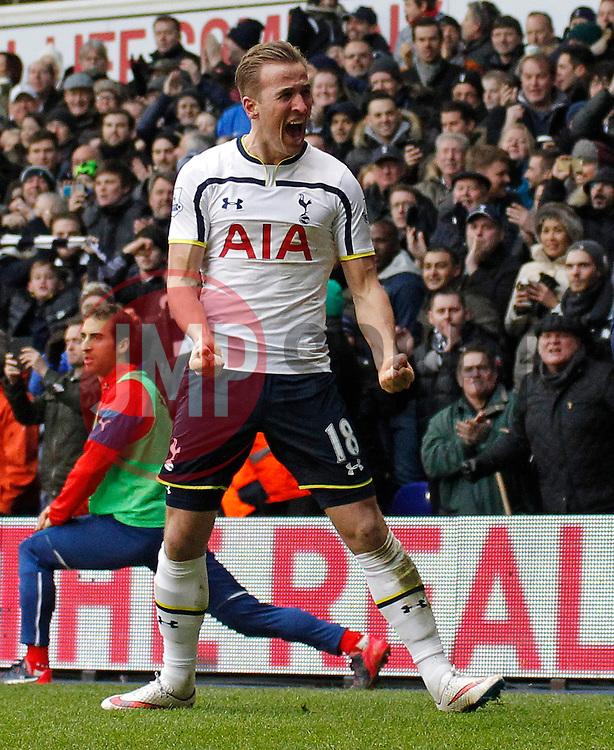 Tottenham Hotspur's Harry Kane celebrates scoring a goal - Photo mandatory by-line: Mitchell Gunn/JMP - Mobile: 07966 386802 - 07/02/2015 - SPORT - Football - London - White Hart Lane - Tottenham Hotspur v Arsenal - Barclays Premier League