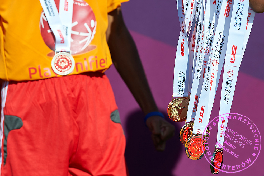 Gold medals hang while Unified Sports Experience Football 5-a-side match during fourth day of the Special Olympics World Games Los Angeles 2015 on July 28, 2015 at Intramural Fields UCLA (University of California, Los Angeles) in Los Angeles, USA.<br /> <br /> USA, Los Angeles, July 28, 2015<br /> <br /> Picture also available in RAW (NEF) or TIFF format on special request.<br /> <br /> For editorial use only. Any commercial or promotional use requires permission.<br /> <br /> Adam Nurkiewicz declares that he has no rights to the image of people at the photographs of his authorship.<br /> <br /> Mandatory credit:<br /> Photo by &copy; Adam Nurkiewicz / Mediasport