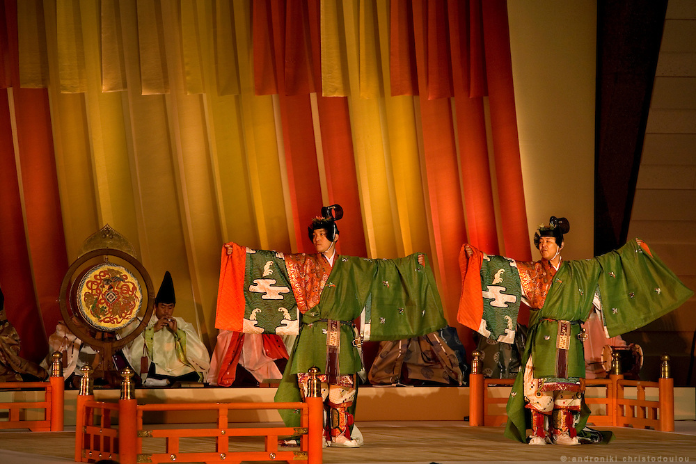 """Heian era dance as presented in the conference for """"The Tale of Genji"""", during it's 1000 years anniversary celebrations in Kyoto. The dance is representative of dances described in the novel written by lady Murasaki.."""