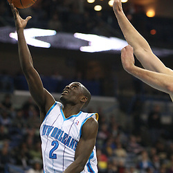 Feb 17, 2010; New Orleans, LA, USA; New Orleans Hornets guard Darren Collison (2) shoots against the Utah Jazz during the first quarter at the New Orleans Arena. Mandatory Credit: Derick E. Hingle-US PRESSWIRE