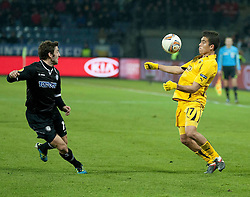14.12.2011, UPC Arena, Graz, AUT, UEFA Europa League , Sturm Graz vs AEK Athen FC, im Bild Viktor Klonaridis (AEK Athen FC, Midfield, #77) und Joachim Standfest (SK Puntigamer Sturm Graz, #18) // during UEFA Europa League football game between Sturm Graz and AEK Athens FC at UPC Arena in Graz, Austria on 14/12/2011. EXPA Pictures © 2011, PhotoCredit: EXPA/ E. Scheriau