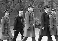 President Patrick Hillery with Taoiseach Garret Fitzgerald at the 1916 Commemoration Ceremony at Arbour Hill, 07/05/1986 (Part of the Independent Newspapers Ireland/NLI Collection).
