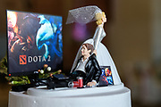 DOTA 2 wedding cake topper by Tallmadge wedding photographer, Akron wedding photographer Mara Robinson Photography
