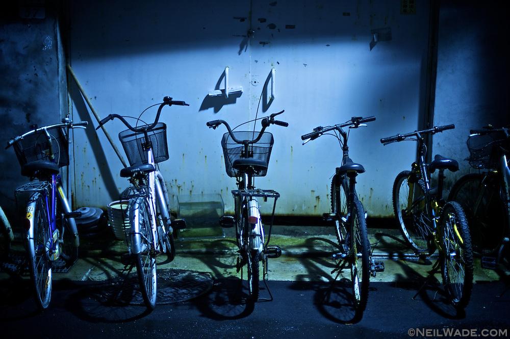 Bicycles at night.