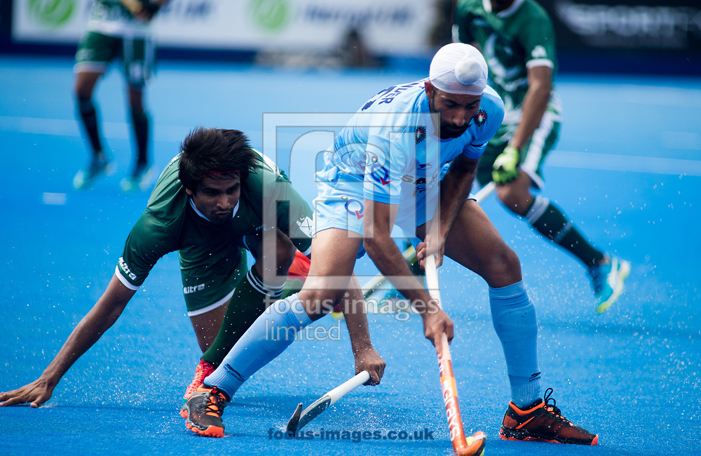 Talwinder Singh of India and Ajaz Ahmad of Pakistan battle for the ball on day four of the Men's Hero Hockey World League Semi-Finals at Lee Valley Hockey Centre, Stratford<br /> Picture by Hannah Fountain/Focus Images Ltd 07814482222<br /> 18/06/2017