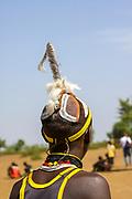 Africa, Ethiopia, Omo Valley, Daasanach tribe man with traditional headdress