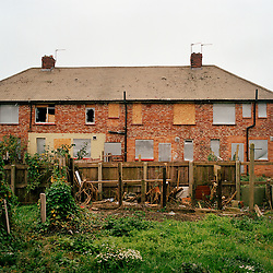 A view from the garden of a house on the Ford Estate in Sunderland where many families live below the poverty line. Once all families have moved out the estate will be demolished. Currently 3.4 million children live in poverty in the UK.