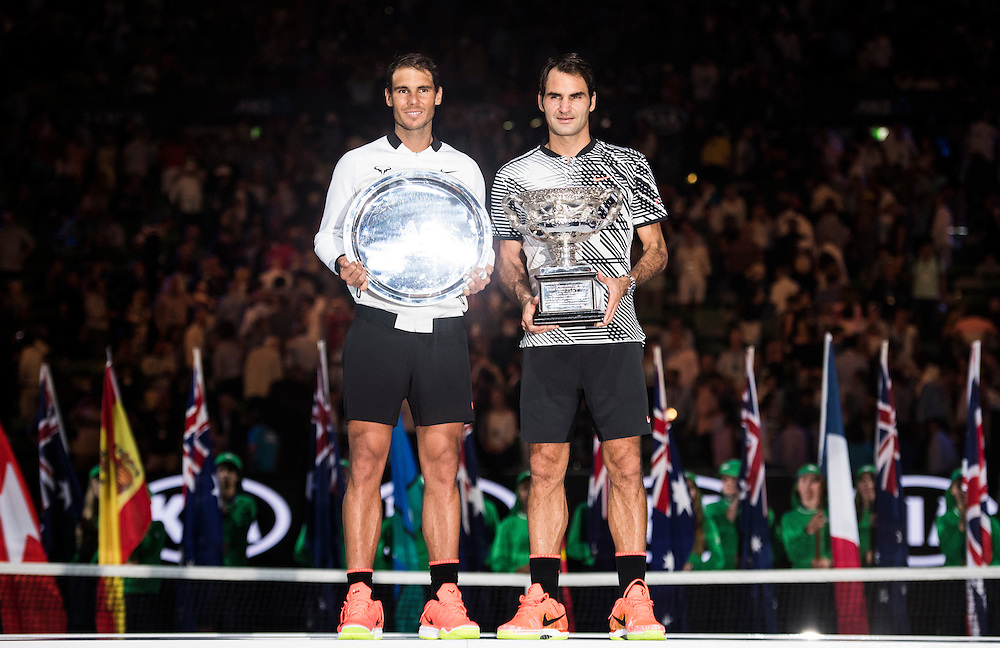 Roger Federer of Switzerland and Rafael Nadal of Spain after the men's final on day fourteen of the 2017 Australian Open at Melbourne Park on January 29, 2017 in Melbourne, Australia.<br /> (Ben Solomon/Tennis Australia)
