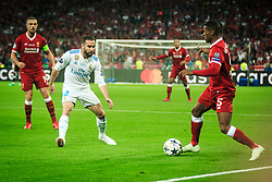 Dani Carvajal of Real Madrid vs Georginio Wijnaldum of Liverpool during the UEFA Champions League final football match between Liverpool and Real Madrid at the Olympic Stadium in Kiev, Ukraine on May 26, 2018.Photo by Sandi Fiser / Sportida