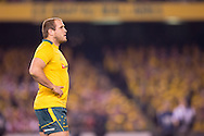 Ben Alexander (Wallabies) bloing some steam into the cold night air during the second test between the DHL Australian Wallabies vs HSBC British And Irish Lions at Etihad Stadium, Melbourne, Victoria, Australia. 29/06/0213. Photo By Lucas Wroe