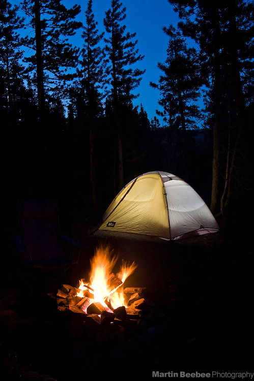Campfire and tent, Toiyabe National Forest, California