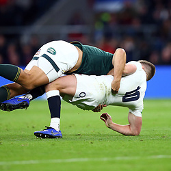 LONDON, ENGLAND - NOVEMBER 03: Andre Esterhuizen of South Africa with a big tackle on Owen Farrell (co-captain) of England during the Castle Lager Outgoing Tour match between England and South Africa at Twickenham Stadium on November 03, 2018 in London, England. (Photo by Steve Haag/Gallo Images)