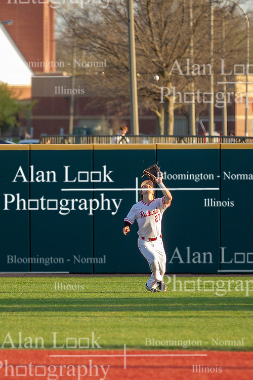 NORMAL, IL - April 08: Joe Aeilts fields a high fly ball to right field during a college baseball game between the ISU Redbirds  and the Sacramento State Hornets on April 08 2019 at Duffy Bass Field in Normal, IL. (Photo by Alan Look)