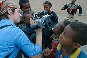 AXUM, TIGRAY/ETHIOPIA..Kids with German journalist Anja Joeckel (GEO Saison)..(Photo by Heimo Aga)