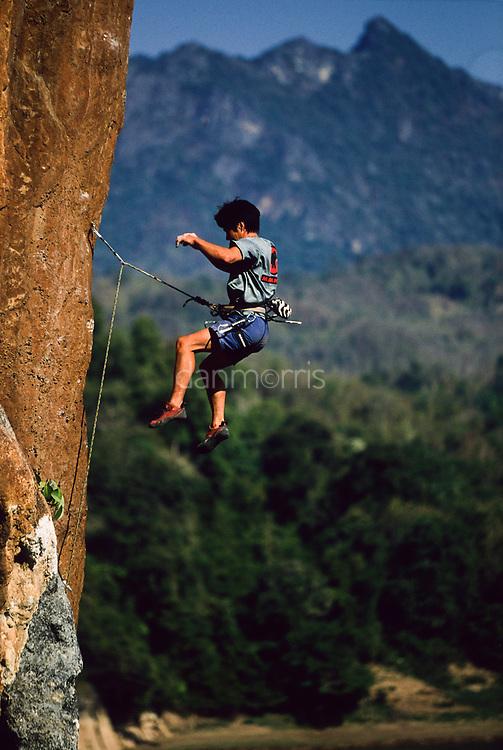 Tamotsu Sugino falls from the orange arete Mind the Bees, 5.13a, Ban Pak Ou, Luang Phrabang, Laos