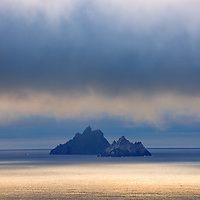 Mystical Sunset Light over Skellig Michael and Little Skellig Island, County Kerry, ireland / sk037