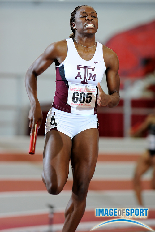 Mar 15, 2008; Fayetteville, AR, USA; Jessica Beard anchors Texas A&M women's 4 x 400m relay that placed second in 3:31.34 in the NCAA indoor track and field championships at the Randal Tyson Center.