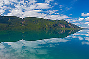 Muncho Lake reflection and the Northern Canadian Rockies<br />Muncho Lake Provincial Park<br />British Columbia<br />Canada
