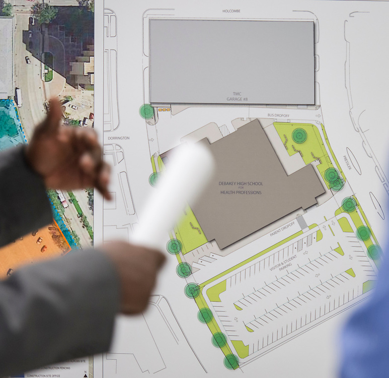 Houston ISD staff, WHR Architects and Tellepsen representatives discuss the progress of the new Debakey High School project at DeBakey High School, October 29, 2014.