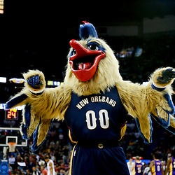 Nov 8, 2013; New Orleans, LA, USA;  New Orleans Pelicans mascot Pierre the Pelican performs for the crowd during the fourth quarter of a game at New Orleans Arena. The Pelicans defeated the Lakers 96-85. Mandatory Credit: Derick E. Hingle-USA TODAY Sports