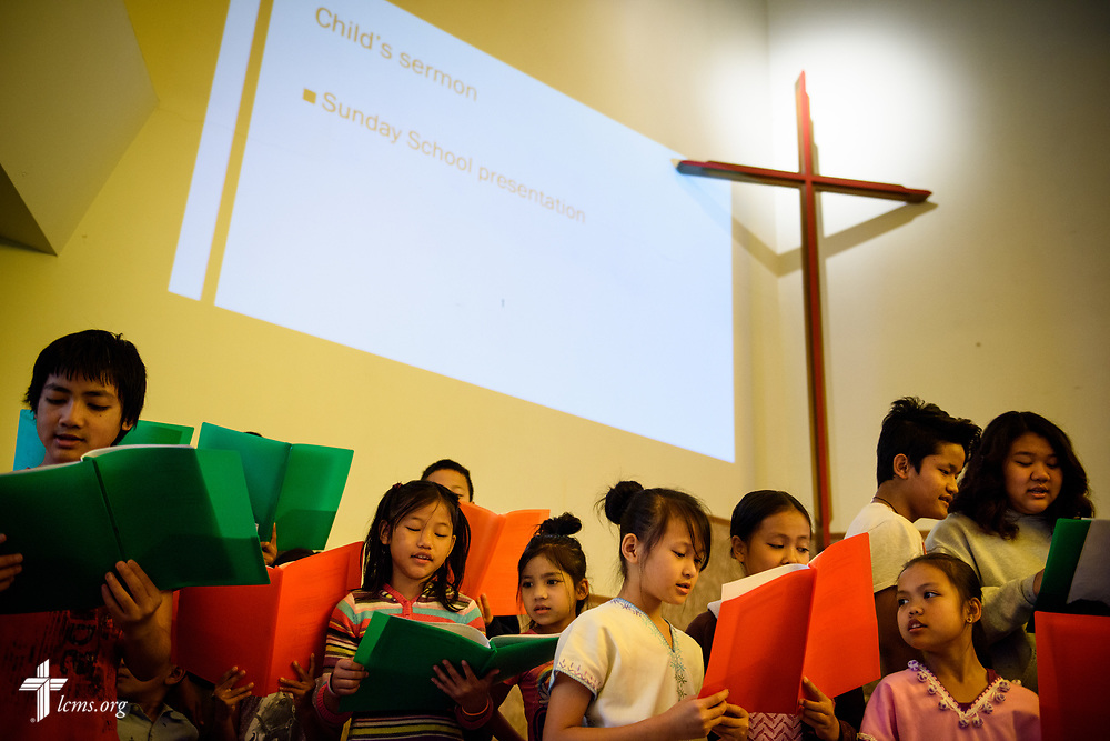 Children gather for a children's sermon and song during worship at New Vision Lutheran Church, Spokane, Wash., on Sunday, June 18, 2017, in Spokane. LCMS Communications/Erik M. Lunsford