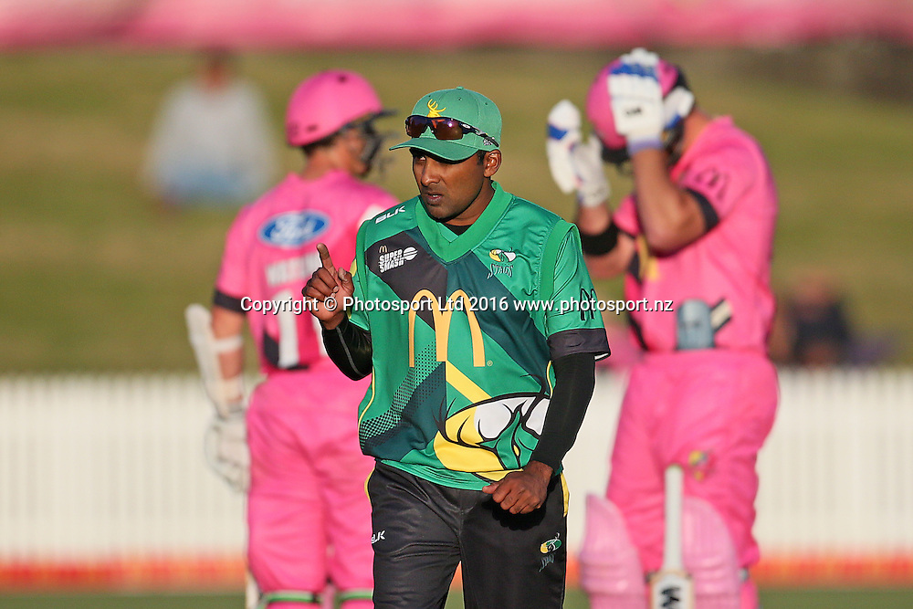 Central Stags' Mahela Jayawardena indicates he is happy with a solitary over at the bowling crease during the McDonalds Super Smash T20 cricket match - Knights v Stags played at Seddon Park, Hamilton, New Zealand on Friday 23 December.<br /> <br /> Copyright photo: Bruce Lim / www.photosport.nz