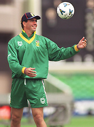 South Africa captain Hansie Cronje finds time to practice his soccer skills